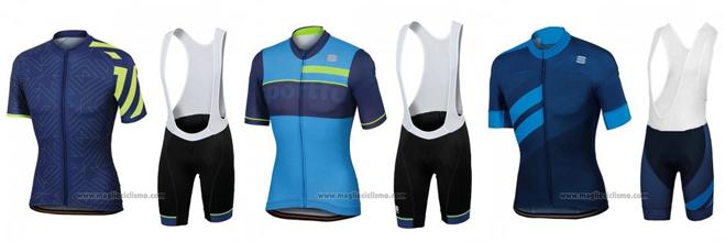 2018 Abbigliamento Ciclismo Sportful Spento Blu Manica Corta e Salopette