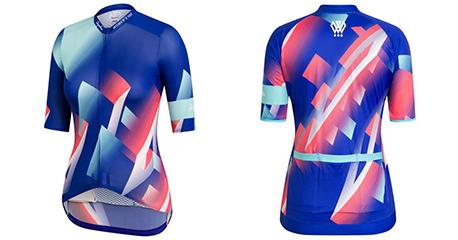 2019 Abbigliamento Ciclismo Donne Rapha Spento Blu Rosa Manica Corta e Salopette
